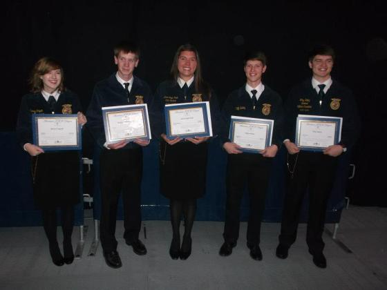 I wore my FFA jacket for the last time when I received my American FFA degree with four other people from Alabama. It was a fun way to end my FFA career with friends I had made through the years from different parts of the state. L-R Kacey Colquitt, Will Maples, Anna Leigh Peek, Cliff Bailey and Wiley Bailey.
